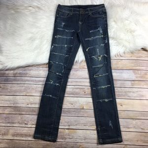 Vigold Jeans Skinny Ripped Destroyed Dark Wash